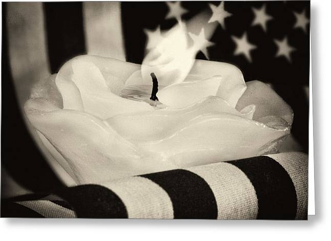 Owner Greeting Cards - Rose Candle on American Flag Greeting Card by Iris Richardson