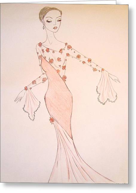 Evening Dress Drawings Greeting Cards - Rose Chiffon Greeting Card by Christine Corretti