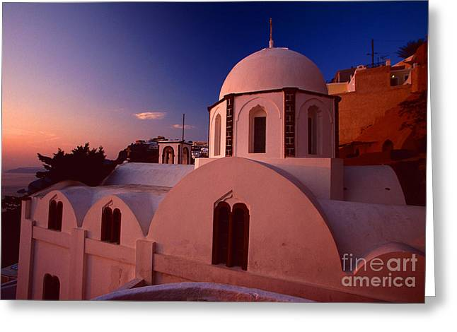 Evening Scenes Greeting Cards - Rose color church Greeting Card by Aiolos Greek Collections