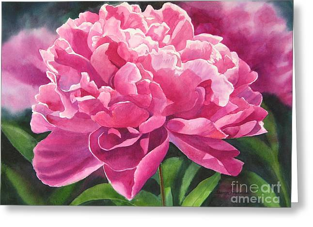 Rosy Greeting Cards - Rose Colored Peony Blossom Greeting Card by Sharon Freeman