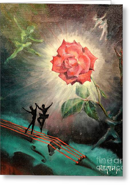Dance Ballet Roses Greeting Cards - Rose Concerto  1941 Greeting Card by Art By Tolpo Collection