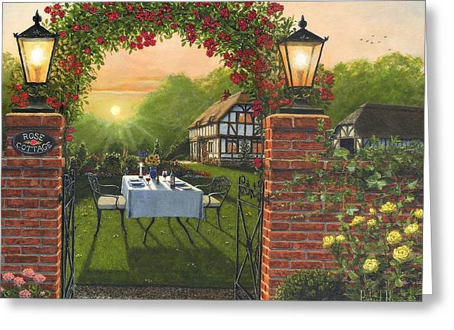 Golden Ratio Greeting Cards - Rose Cottage - Dinner for Two Greeting Card by Richard Harpum