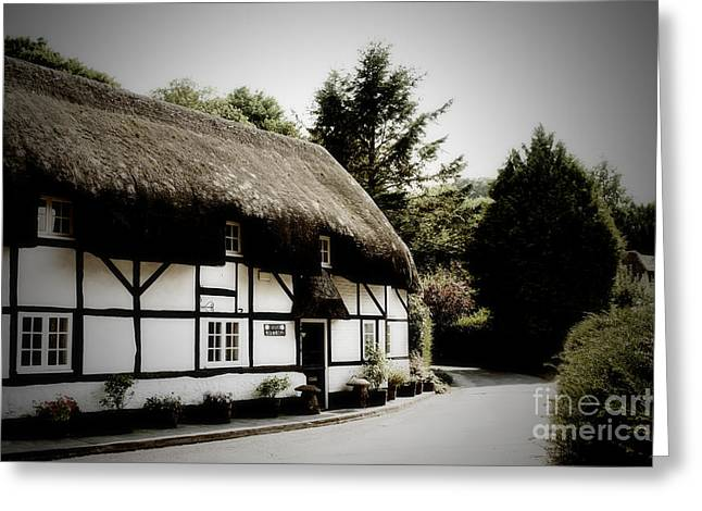 Terri Waters Greeting Cards - Rose Cottage The Square Nether Wallop Greeting Card by Terri  Waters