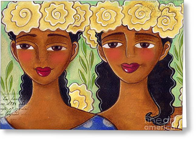 African-american Pastels Greeting Cards - Rose Crown Sisiters Greeting Card by Elaine Jackson