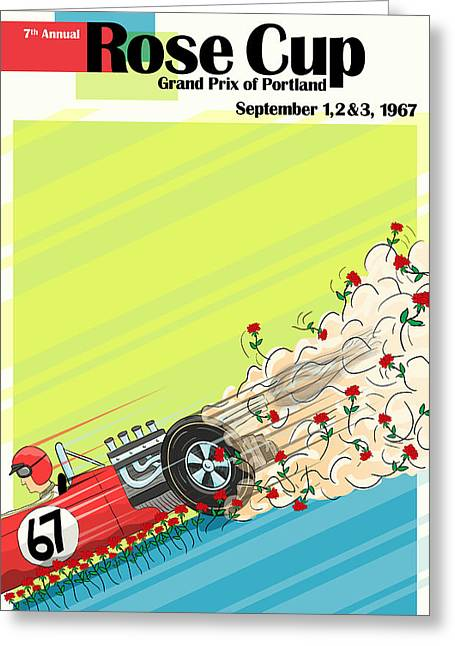Rally Greeting Cards - Rose Cup Grand Prix Portland 1967 Greeting Card by Nomad Art And  Design