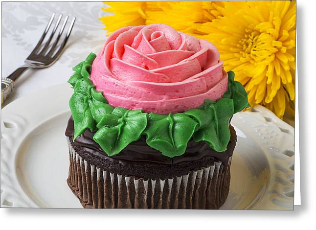 Rose cupcake Greeting Card by Garry Gay