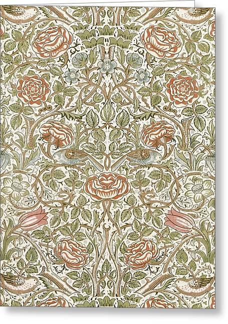Roses Tapestries - Textiles Greeting Cards - Rose Design Greeting Card by William Morris