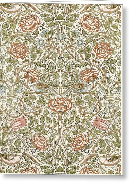 Orange Tapestries - Textiles Greeting Cards - Rose Design Greeting Card by William Morris