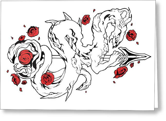Dragon Concept Greeting Cards - Rose Dragon Greeting Card by Miguel Karlo Dominado