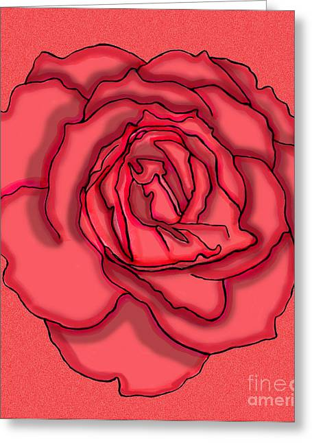 Floral Digital Drawings Greeting Cards - Rose Drawing Greeting Card by Christine Perry