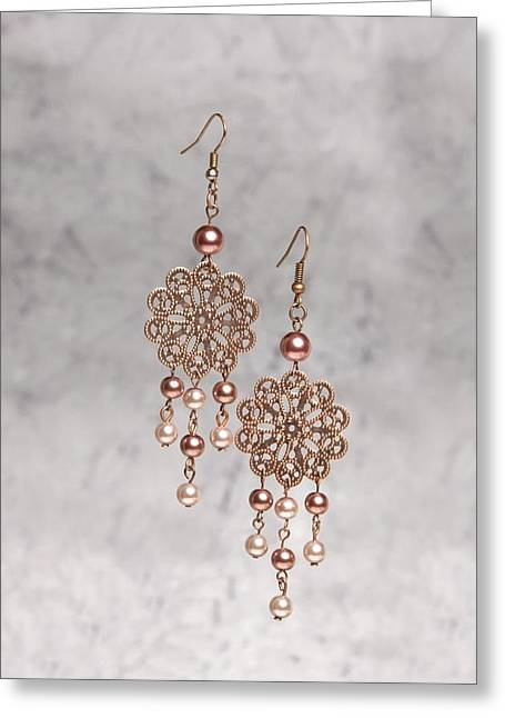 Flower Jewelry Greeting Cards - Rose Filigree Flower and Pearl Earrings Greeting Card by Kimberly Johnson
