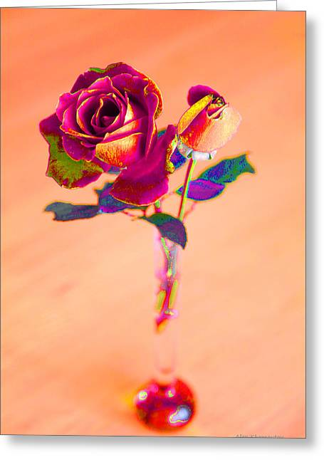 Rose For Love - Metaphysical Energy Art Print Greeting Card by Alex Khomoutov