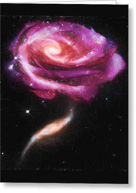 Hubble Space Telescope Mixed Media Greeting Cards - Rose Galaxies Greeting Card by John Haldane