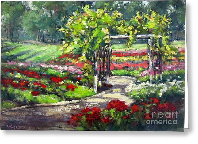 Vickie Fears Greeting Cards - Rose Garden Arbor Greeting Card by Vickie Fears