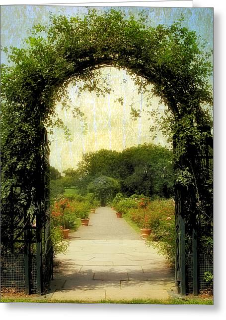 Trellis Greeting Cards - Rose Garden Corridor Greeting Card by Jessica Jenney