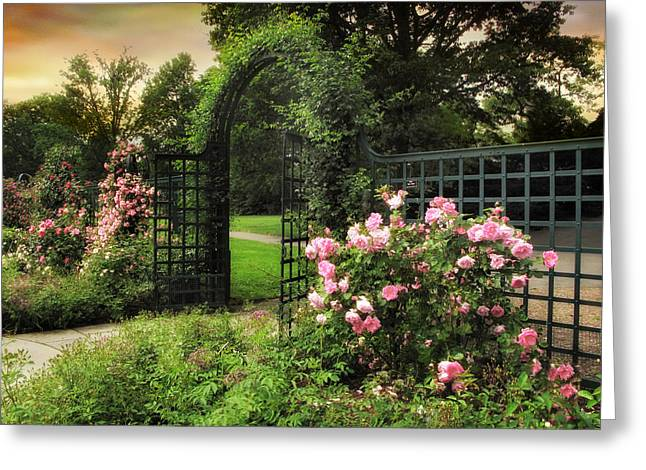 Trellis Digital Greeting Cards - Rose Garden Gate Greeting Card by Jessica Jenney