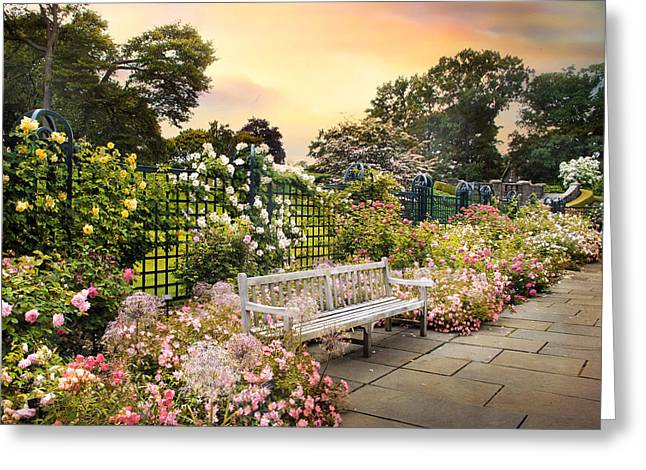 Trellis Digital Greeting Cards - Rose Garden in June Greeting Card by Jessica Jenney
