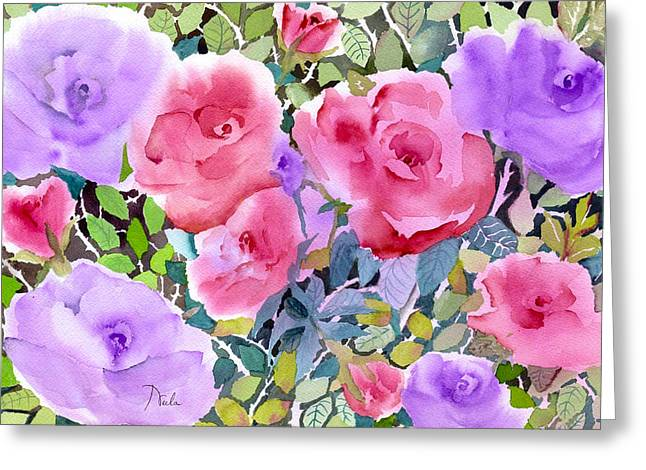 Pinks And Greens Greeting Cards - Rose Garden Greeting Card by Neela Pushparaj