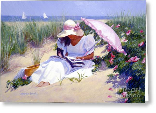 Sand Dunes Paintings Greeting Cards - Rose Garden Reader Greeting Card by Candace Lovely