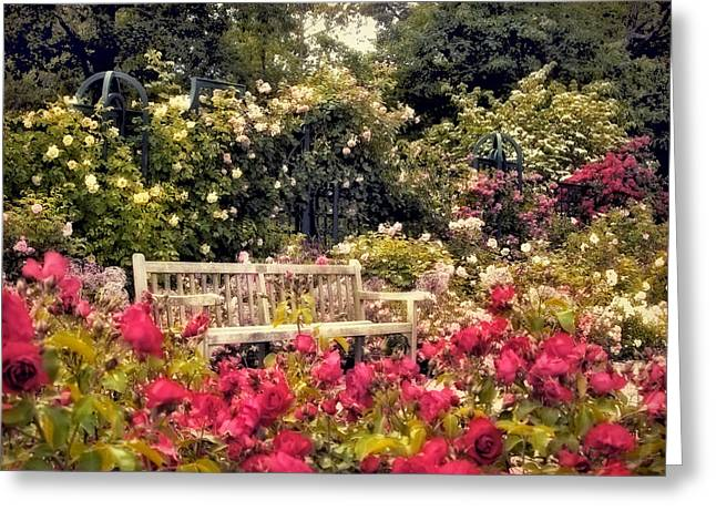 Trellis Greeting Cards - Rose Garden Respite Greeting Card by Jessica Jenney