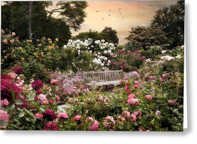 Trellis Digital Greeting Cards - Rose Garden Splendor Greeting Card by Jessica Jenney