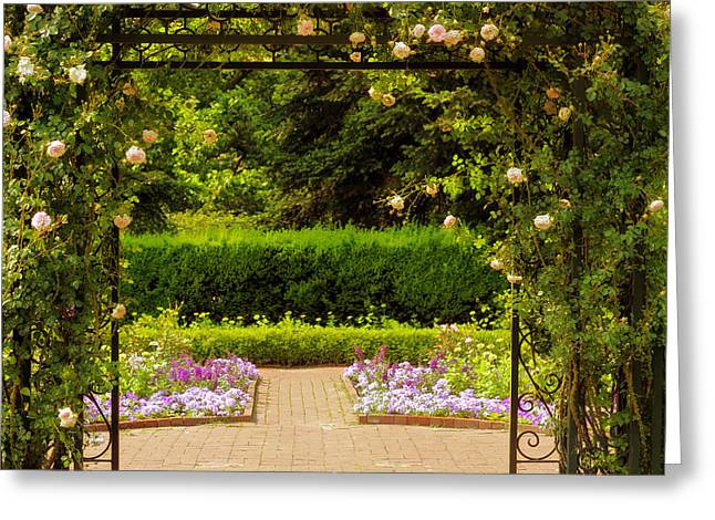 Trellis Greeting Cards - Rose Gate Greeting Card by Jessica Jenney