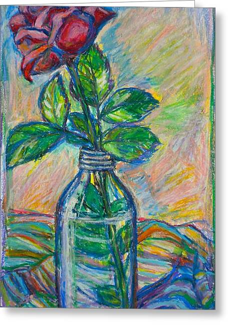 Cloth Pastels Greeting Cards - Rose in a Bottle Greeting Card by Kendall Kessler