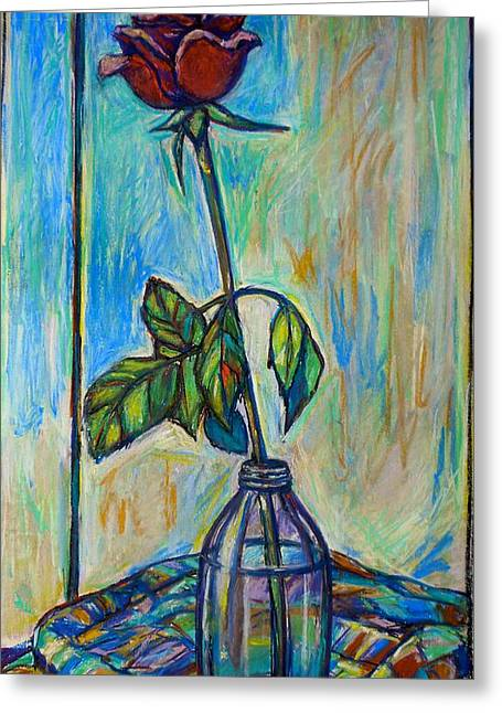 Cloth Pastels Greeting Cards - Rose in Bottle Again Greeting Card by Kendall Kessler
