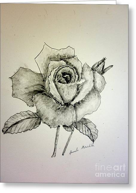 Rose In Monotone Greeting Card by Pamela  Meredith