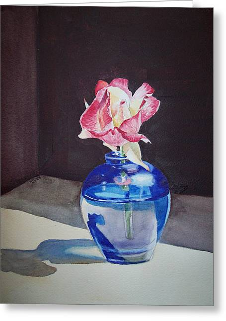 Rose Prints Greeting Cards - Rose in the Blue Vase II Greeting Card by Irina Sztukowski