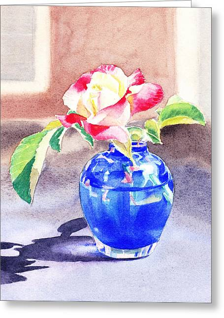 Outdoor Still Life Greeting Cards - Rose in the Blue Vase  Greeting Card by Irina Sztukowski