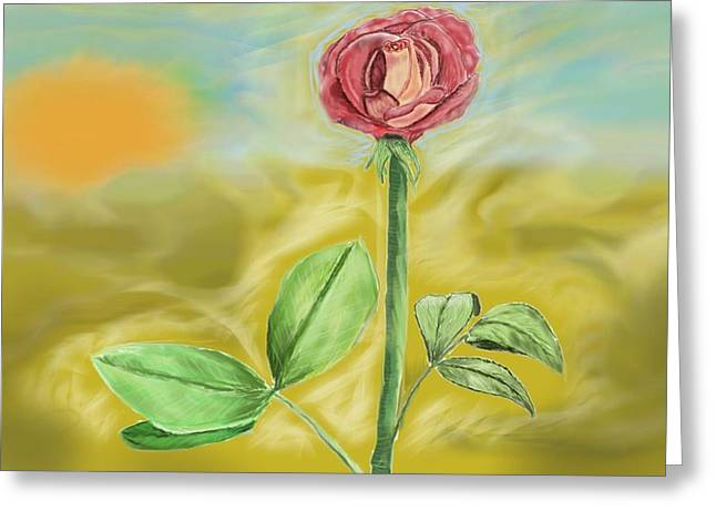 Sketchbook Digital Greeting Cards - Rose in the Desert Greeting Card by Step Sark