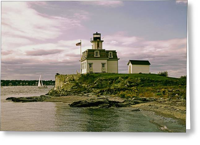 Sailboat Photos Greeting Cards - Rose Island Lighthouse - Rhode Island Greeting Card by Mountain Dreams