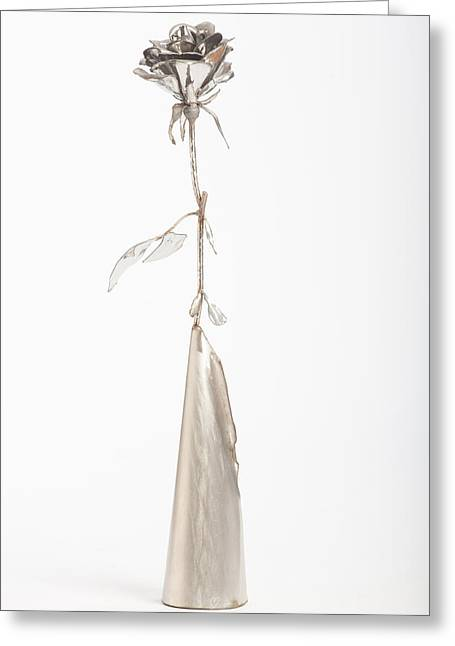 Silver Sculptures Greeting Cards - Rose Greeting Card by Jon Koehler