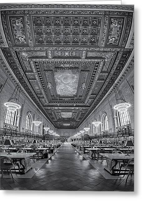 Rose Main Reading Room At The Nypl Bw Greeting Card by Susan Candelario