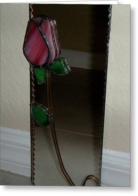 Bud Glass Art Greeting Cards - Rose Mirror Greeting Card by Nora Solomon