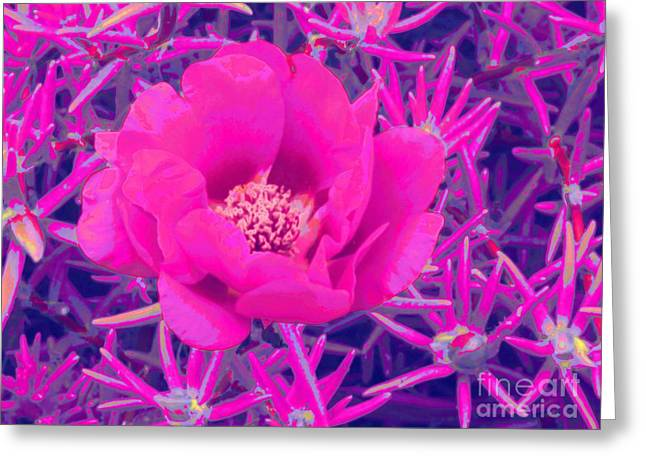Pinks And Purple Petals Digital Art Greeting Cards - Rose Moss Single Greeting Card by Margaret Newcomb