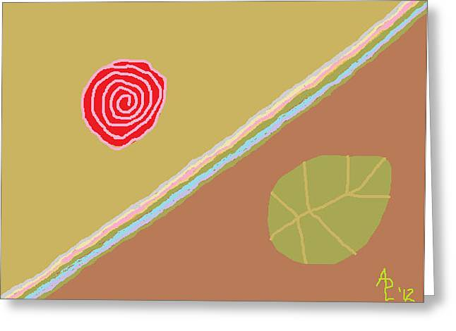 Harmonious Drawings Greeting Cards - Rose Poem 1 Interpretation of a Rose Greeting Card by Anita Dale Livaditis