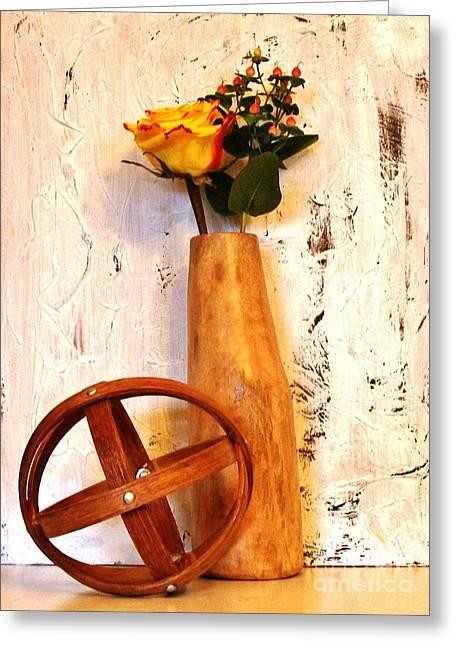 Mango Greeting Cards - Rose Sphere and Mango Wood Vase Greeting Card by Marsha Heiken