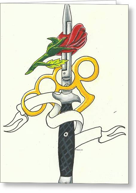 Tattoo Flash Drawings Greeting Cards - Rose Stiletto Greeting Card by Tiffany Buttcher