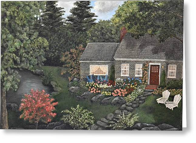 Rose Stone Cottage - Oil Painting Greeting Card by Tami Elise