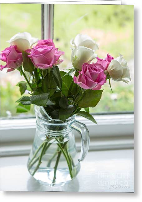With Love Greeting Cards - Rose Vase Greeting Card by Iris Richardson