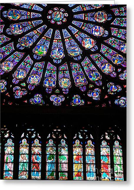 Stained Glass Windows Greeting Cards - Rose Window . Famous stained glass window inside Notre Dame Cathedral. Paris Greeting Card by Bernard Jaubert