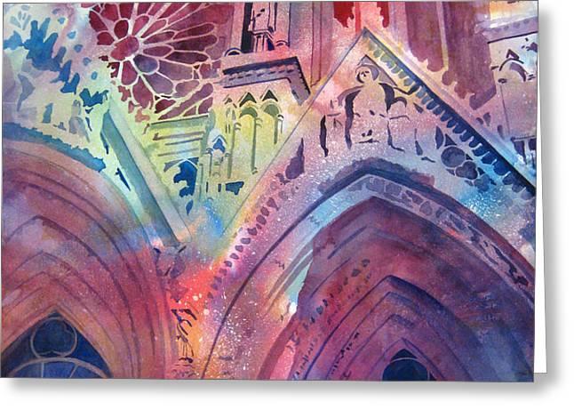 Rose Window Greeting Card by Kris Parins