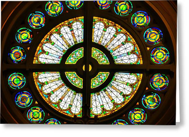 Heart Of The Rose Greeting Cards - Rose Window Silhouette Greeting Card by Jemmy Archer