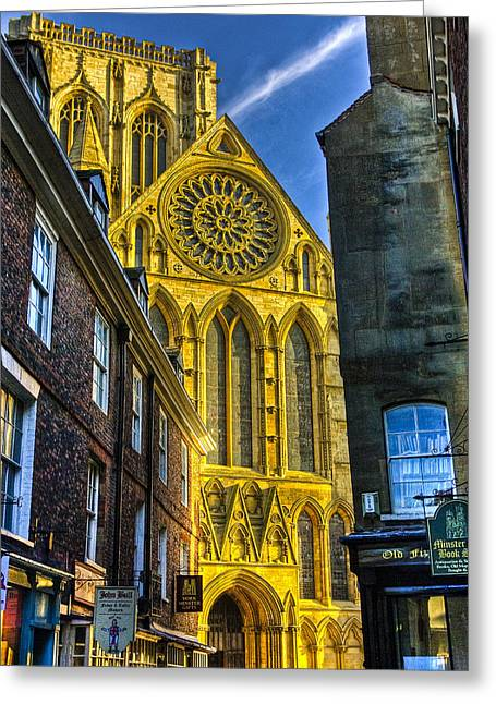 Minster Abbey Greeting Cards - Rose Window  York Minster Greeting Card by Trevor Kersley