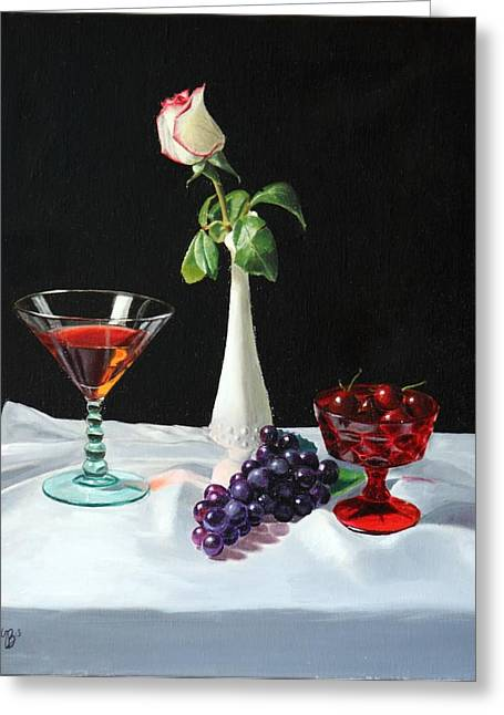 Rose Greeting Cards - Rose wine and fruit Greeting Card by Glenn Beasley