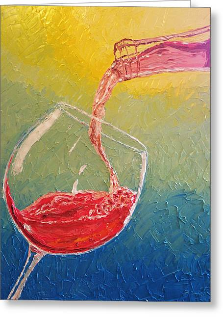 Wine Pour Paintings Greeting Cards - Rose Wine Being Poured Greeting Card by Eryn Tehan