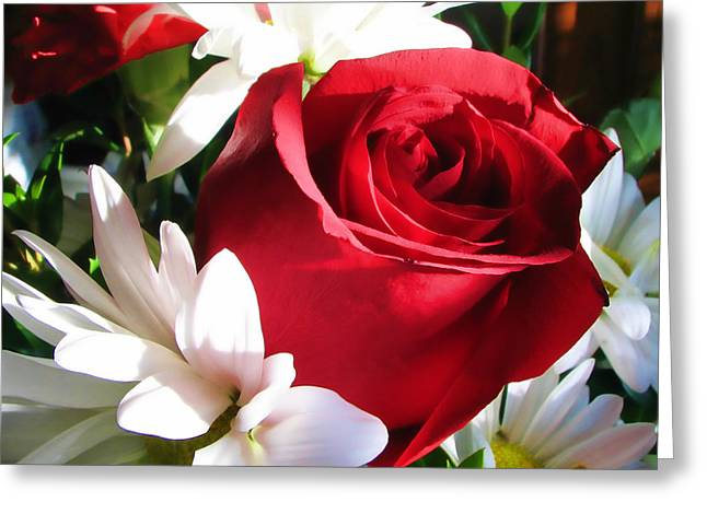 Tony Grider Greeting Cards - Rose with Carnations Greeting Card by Tony Grider