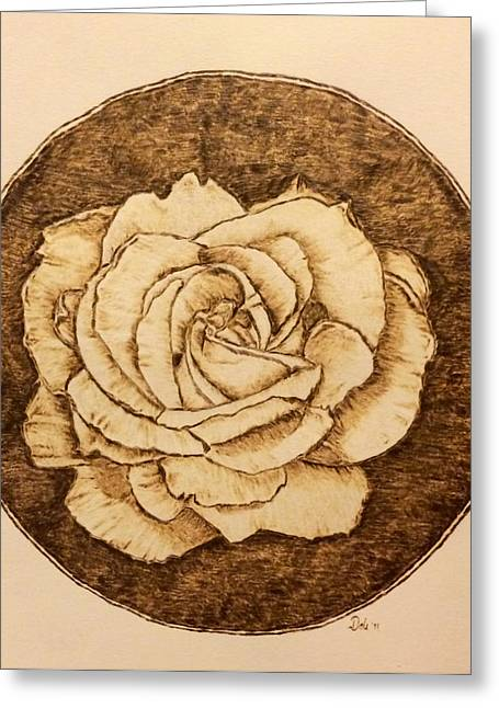 Negative Pyrography Greeting Cards - Rose without a Thorn Greeting Card by Dale Bradley